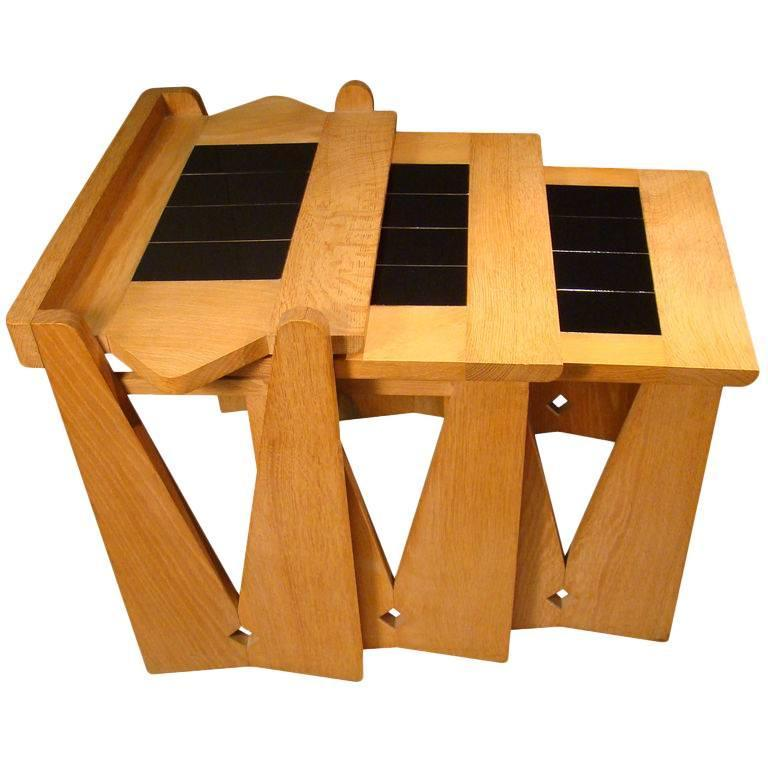 Guillerme et Chambron Set of Nesting Tables in Oak and Ceramic