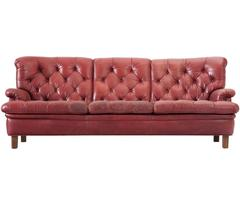 Arne Norell Three-Seat Sofa in Patinated Red Leather