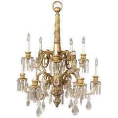 Stunning Late 19th Century Gilt Bronze and Crystal Ten-Light Chandelier