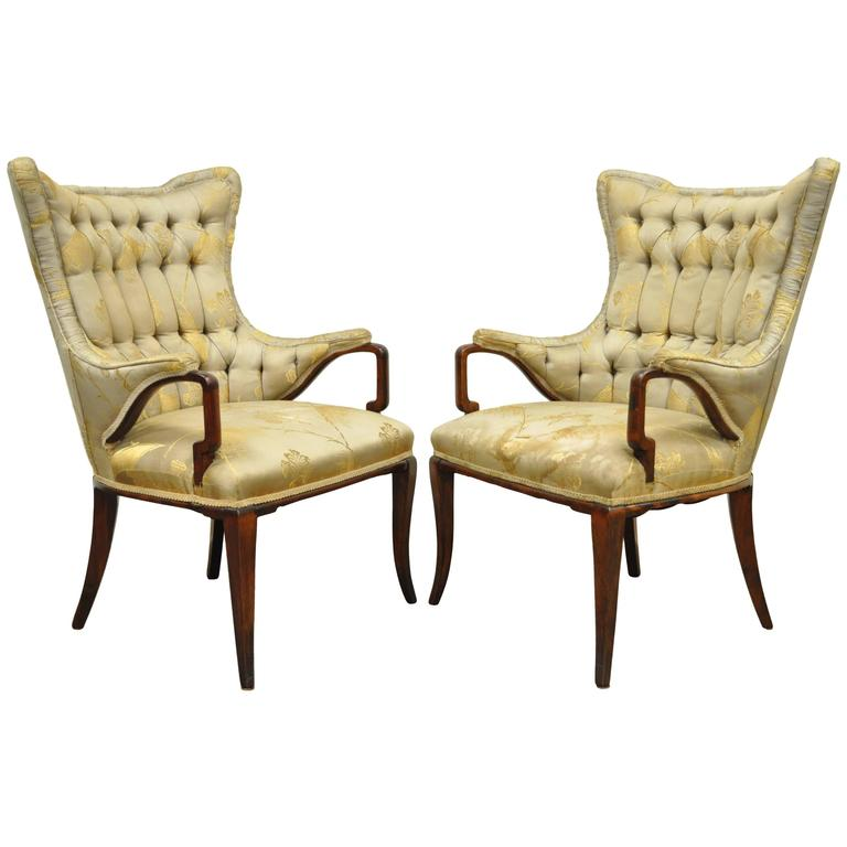 Pair of Grosfeld House Hollywood Regency Mahogany Fireside Lounge Armchairs