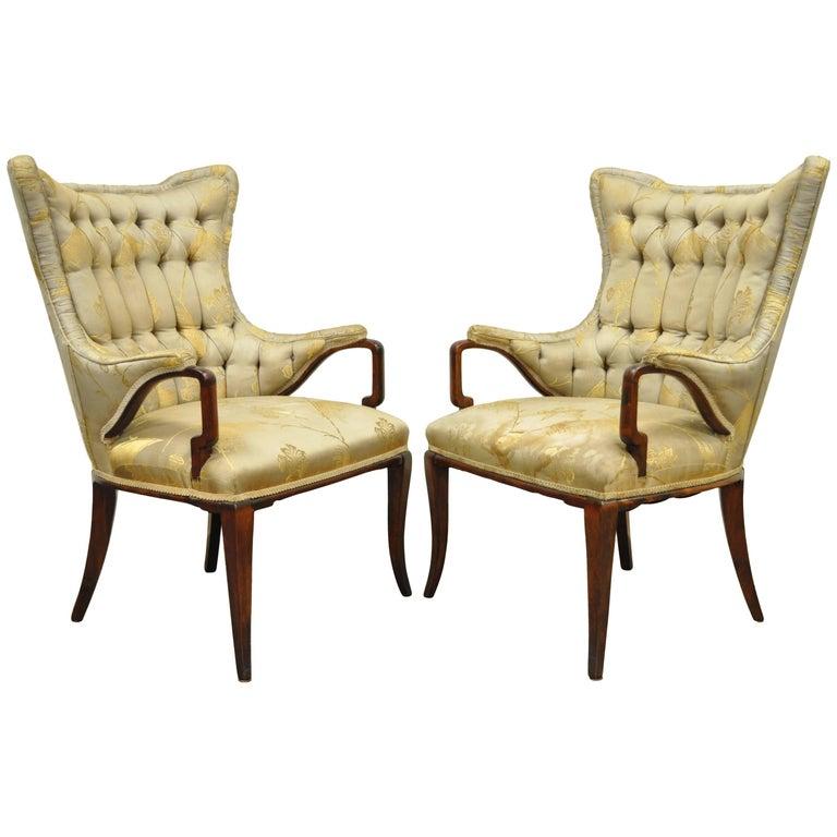 Pair Grosfeld House Hollywood Regency Mahogany Lounge Arm Chairs Dorothy Draper For Sale