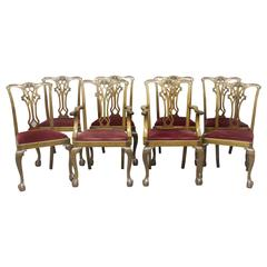 Set of Eight Late 19th-Early 20th Century Chippendale Style Dining Chairs