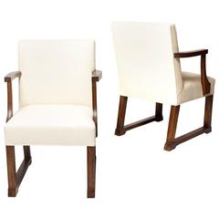 Pair of Muscular Armchairs in Oak Designed by Jean-Michel Frank for Fritz Mandl