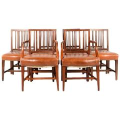 Set of Ten Georgian Period Mahogany Chairs with Two Carvers
