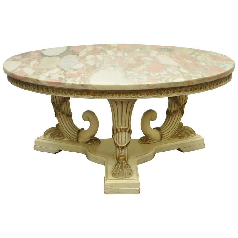 Hollywood Regency Or French Neoclassical Cornucopia Marble Top Coffee Table  1