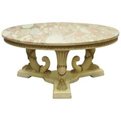 French Empire Neoclassical Cornucopia Base Round Pink Marble Top Coffee Table