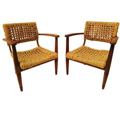 Pair of Rope Chair by Audoux-Minet for Vibo, 1950s