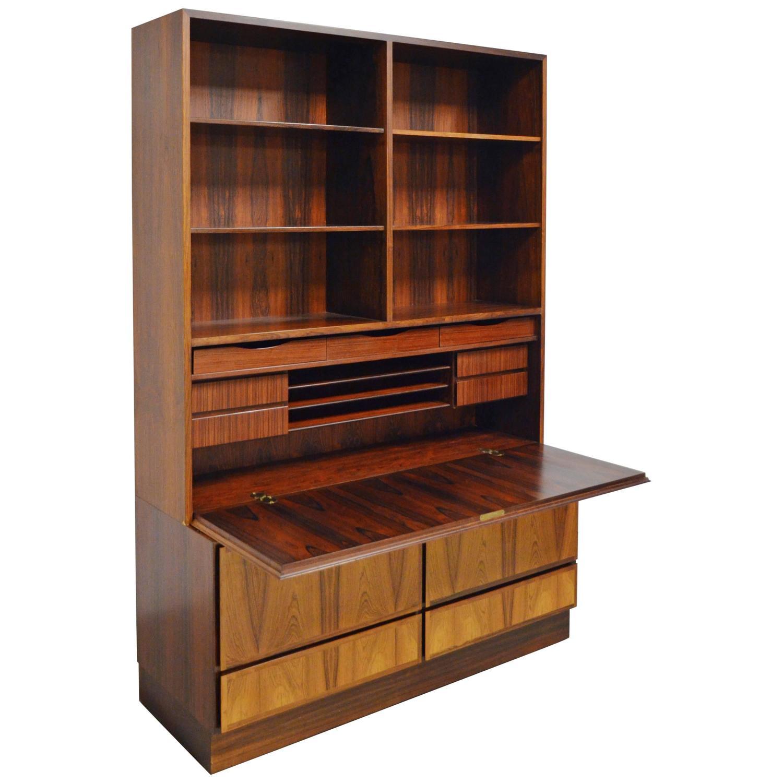 midcentury danish rosewood bookcase or secretary by omann jun