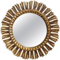 Mid-Century French Wooden Gilded Sunburst Mirror