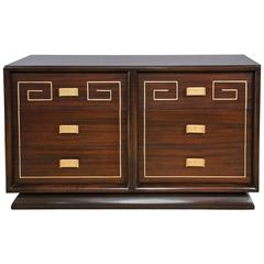 Mid-Century Sideboard with Gold Detail Attributed to Tommi Parzinger