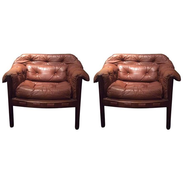 Bon Pair Of Vintage Club Chairs By Arne Norell For Coja, 1960s, Sweden For Sale