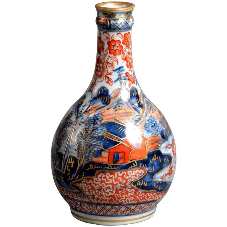 18th Century Clobbered Porcelain Bottle Vase