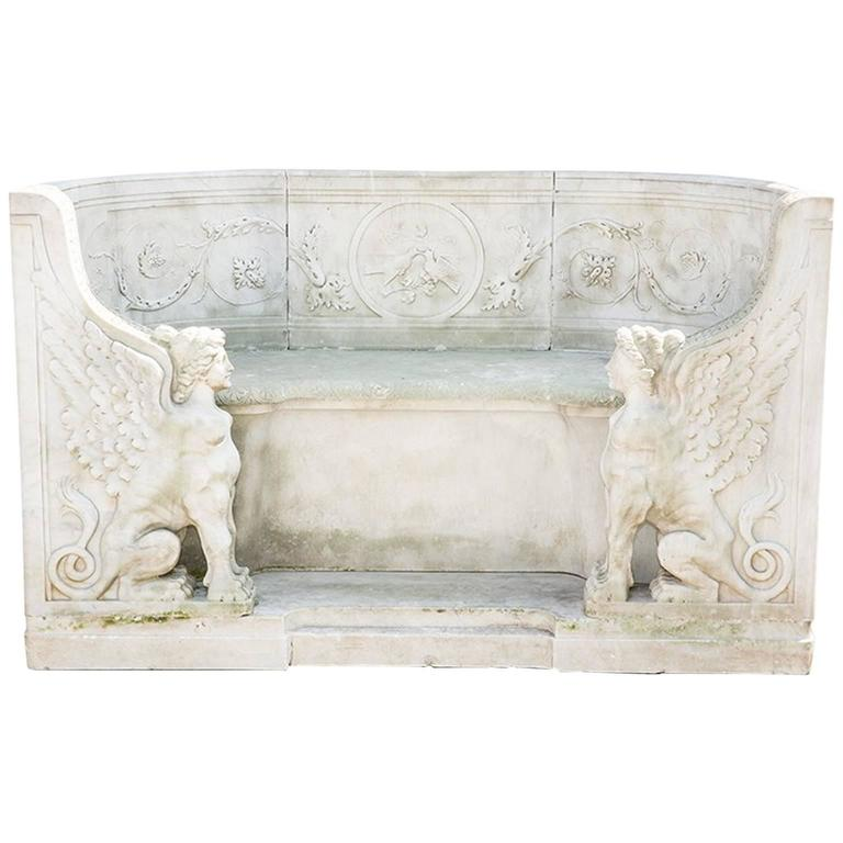 19th Century Neoclassical Marble Park Bench in Carrara Marble 1