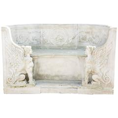 19th Century Neoclassical Marble Garden Bench in Carrara Marble
