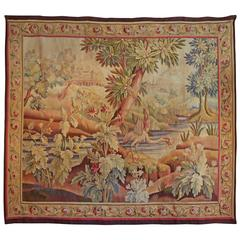 19th Century Aubusson Tapestry Having Vivid Colors and Its Original Border
