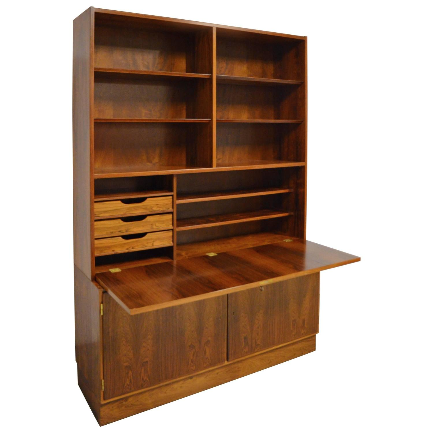 Mid-Century Modern Danish Rosewood Bookcase Secretary For Sale at ...