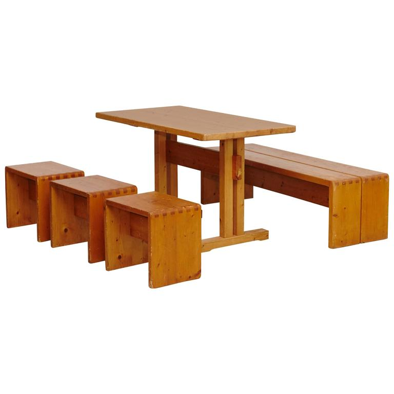 Exceptionnel Charlotte Perriand Table, Stools And Bench For Les Arcs For Sale