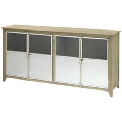 Wood and Stainless Steel Sideboard
