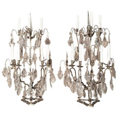 Pair of Seven-Light Bronze and Cut Crystal Candelabra Girandoles, 19th Century