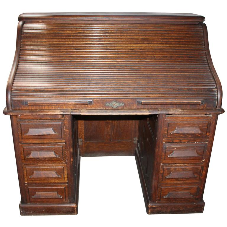 Late 19th Century N Furniture Co Roll Top Desk For