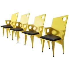 Set of Four Black and Yellow Armchairs