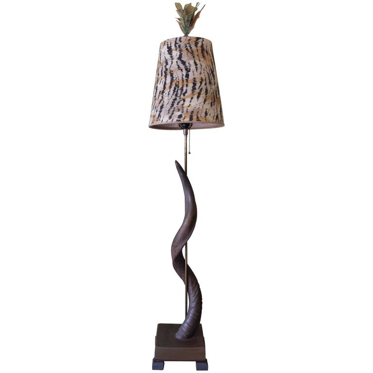 African Greater Kudu Horn Floor Lamp, Custom Lampshade & Colored Feather Finial