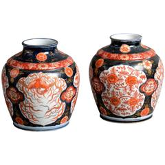 19th Century Pair of Imari Jars