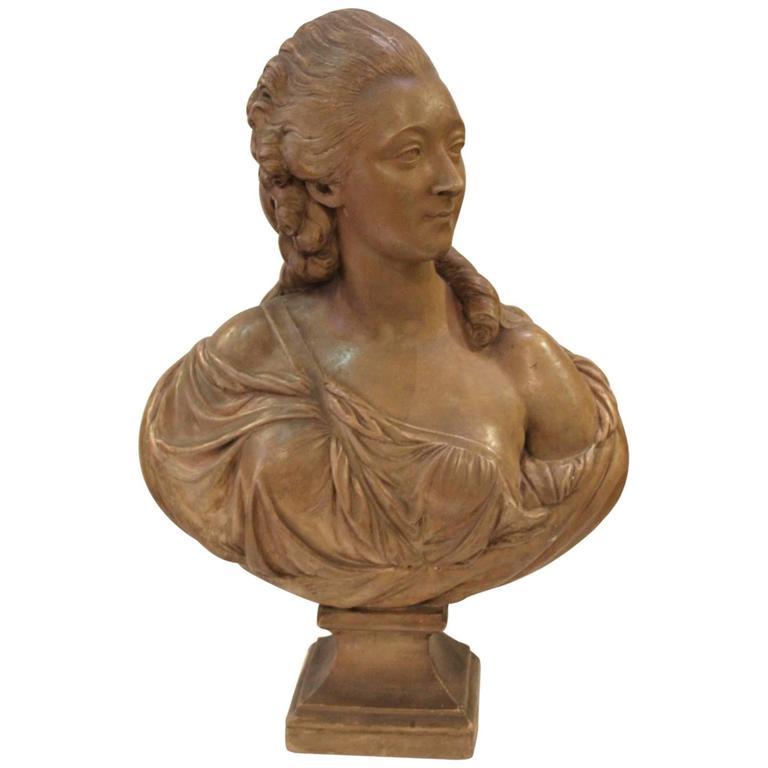 Artist Signed Terracotta Bust of Madame Du Barry, circa 1850