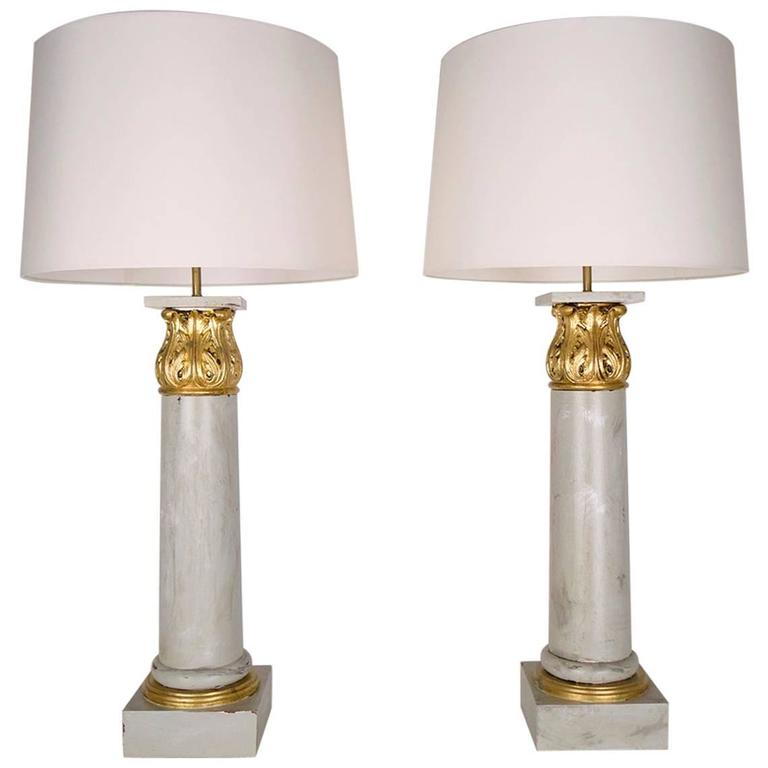 Pair of french wood corinthian column table lamps for sale for Table column