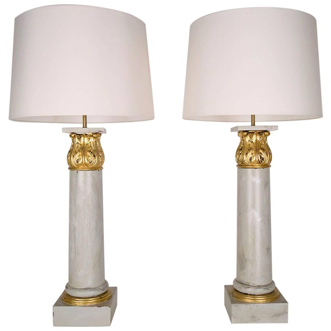 pair of french wood corinthian column table lamps for sale at 1stdibs. Black Bedroom Furniture Sets. Home Design Ideas