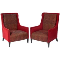 Pair of Modern British Wing Back Lounge Chairs by Andrew Martin