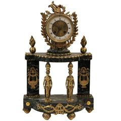 Verde Green Marble and Gilt Mounted Empire Striking Clock