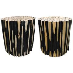 Pair of Mid-Century Modern Unusual Rustic Log Round Side Tables