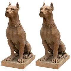 Mid-20th Century Pair of Italian Terra Cotta Dog Statues, Cane Molosso