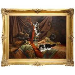 'Curious Kittens' Original Oil Painting by Cornelis Raaphorst