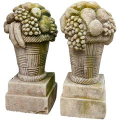 Early 20th Century Pair of French Fruit Finial Baskets in Limestone