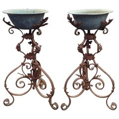 Pair of Zinc Planters on Wrought Iron Stands