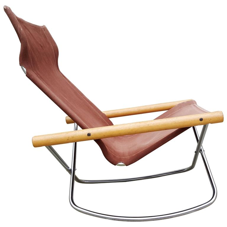Folding Sling Seat Rocking Lounge Chair by Takeshi Nii at 1stdibs