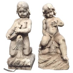 Two Italian Carved Marble Fountains with Two Seated Boys, 18th Century