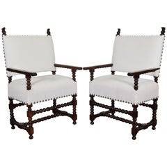 Pair of Spanish Early 18th Century Period Walnut and Upholstered Armchairs