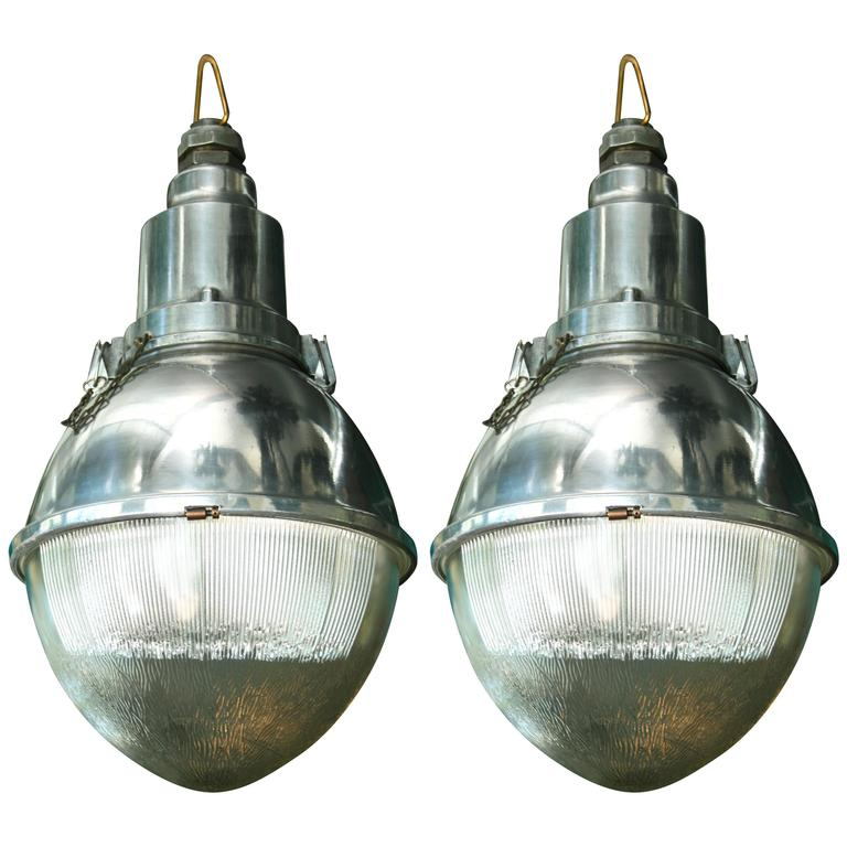 Pair of Large 'Cote Rue' Metal and Glass Industrial Pendant Lights