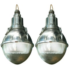 Large 'Cote Rue' Metal and Glass Industrial Pendant Lights