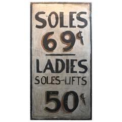 "Painted Metal Folk Art ""Soles"" Advertising Sign"