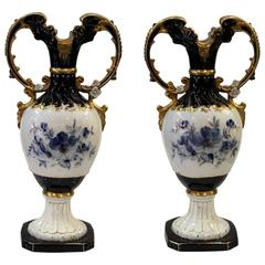 Pair of Royal Dux Hand-Painted Cobalt and Gilt Mantle Urns