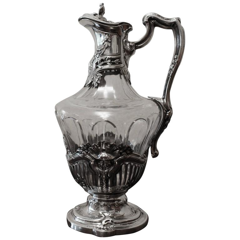 French Cut-Glass and Sterling Silver-Mounted Claret Jug