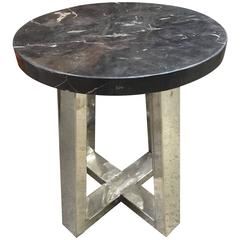 Petrified Wood and Chrome Side Table