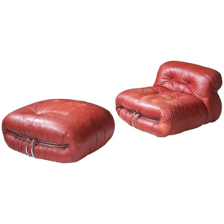 "Distressed Red Leather ""Soriana"" Lounge Chair and Ottoman, Scarpa, 1970"