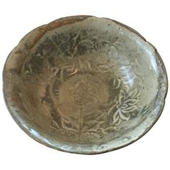 15th Century Handmade and Glazed Celadon Pottery Bowl from Thailand