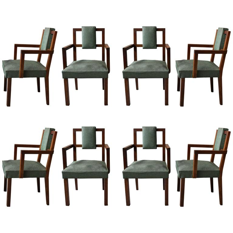 Set of Eight Fine French Art Deco Modernist Bridge Armchairs