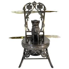Meriden Silver Plate Co. Inkwell Featuring Boston Terrier with Glass Eyes